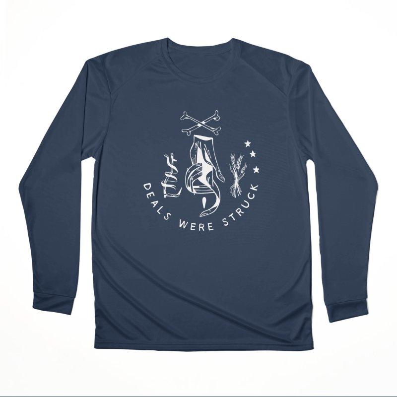 DEALS WERE STRUCK (wht) Wishbow x Voidmerch Men's Performance Longsleeve T-Shirt by VOID MERCH