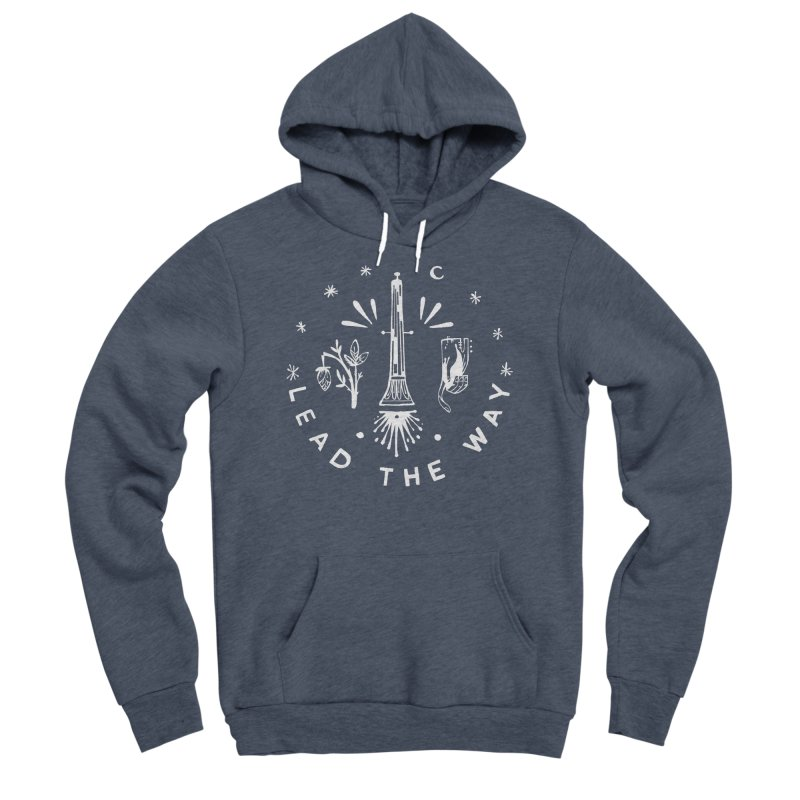 LEAD THE WAY (wht) Wishbow x Voidmerch Men's Sponge Fleece Pullover Hoody by VOID MERCH