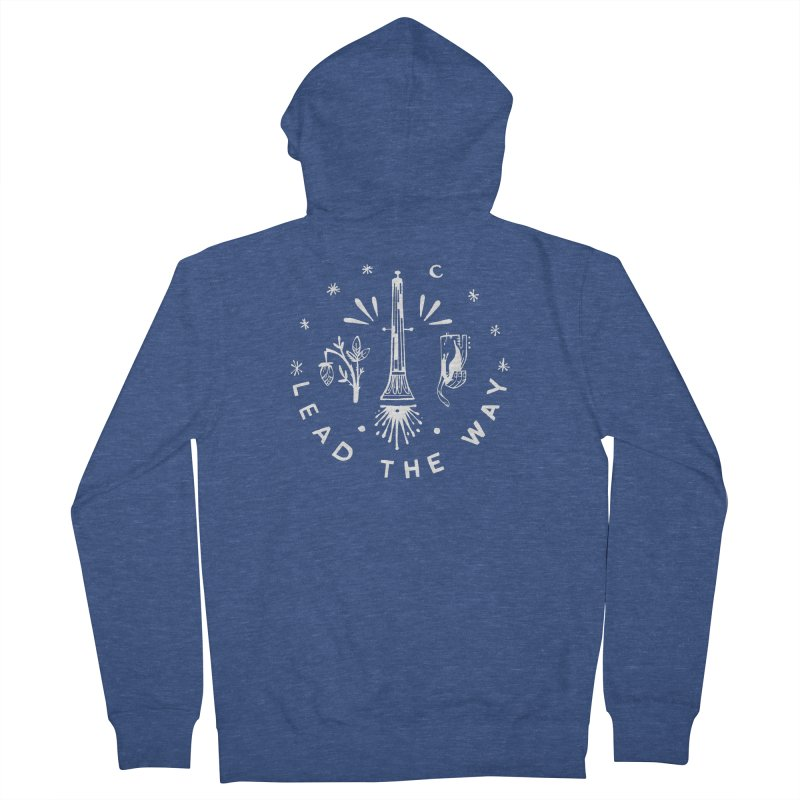 LEAD THE WAY (wht) Wishbow x Voidmerch Women's French Terry Zip-Up Hoody by VOID MERCH