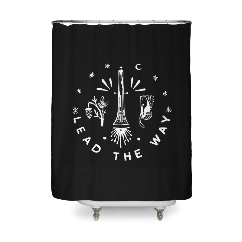 LEAD THE WAY (wht) Wishbow x Voidmerch Home Shower Curtain by VOID MERCH