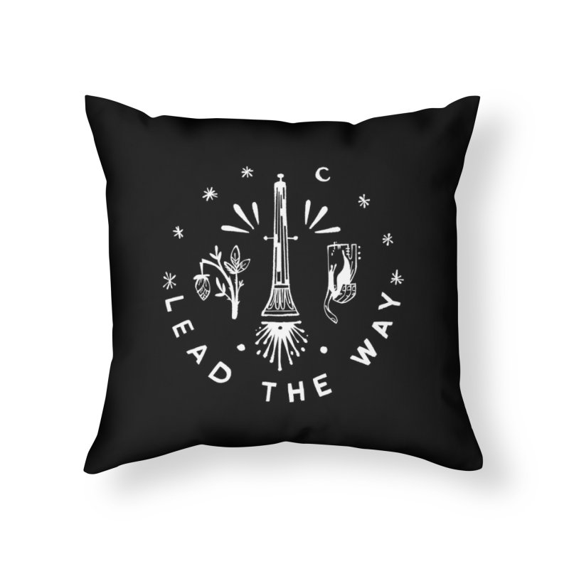LEAD THE WAY (wht) Wishbow x Voidmerch Home Throw Pillow by VOID MERCH