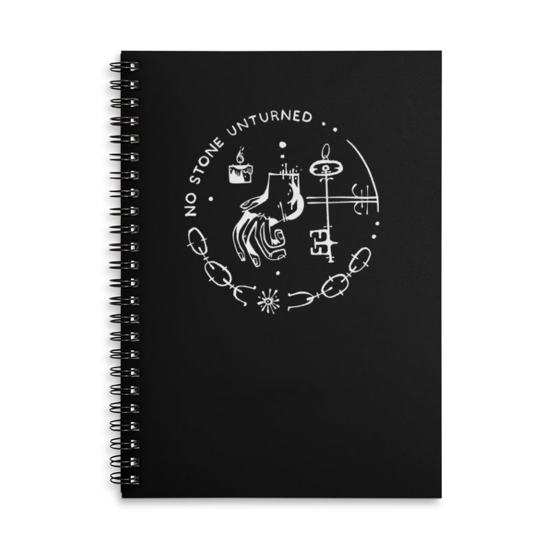 NO STONE UNTURNED (wht) Wishbow x Voidmerch Accessories Lined Spiral Notebook by VOID MERCH