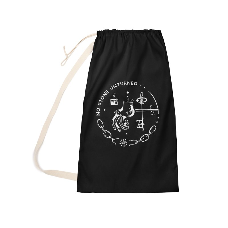 NO STONE UNTURNED (wht) Wishbow x Voidmerch Accessories Laundry Bag Bag by VOID MERCH