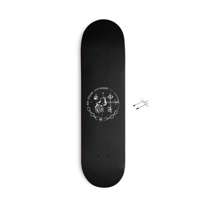 NO STONE UNTURNED (wht) Wishbow x Voidmerch Accessories With Hanging Hardware Skateboard by VOID MERCH