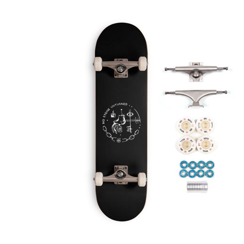 NO STONE UNTURNED (wht) Wishbow x Voidmerch Accessories Complete - Premium Skateboard by VOID MERCH