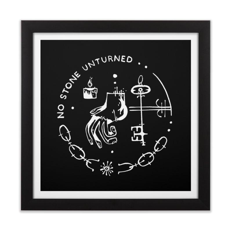 NO STONE UNTURNED (wht) Wishbow x Voidmerch Home Framed Fine Art Print by VOID MERCH