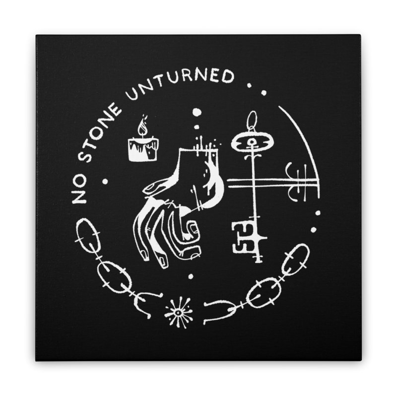 NO STONE UNTURNED (wht) Wishbow x Voidmerch Home Stretched Canvas by VOID MERCH