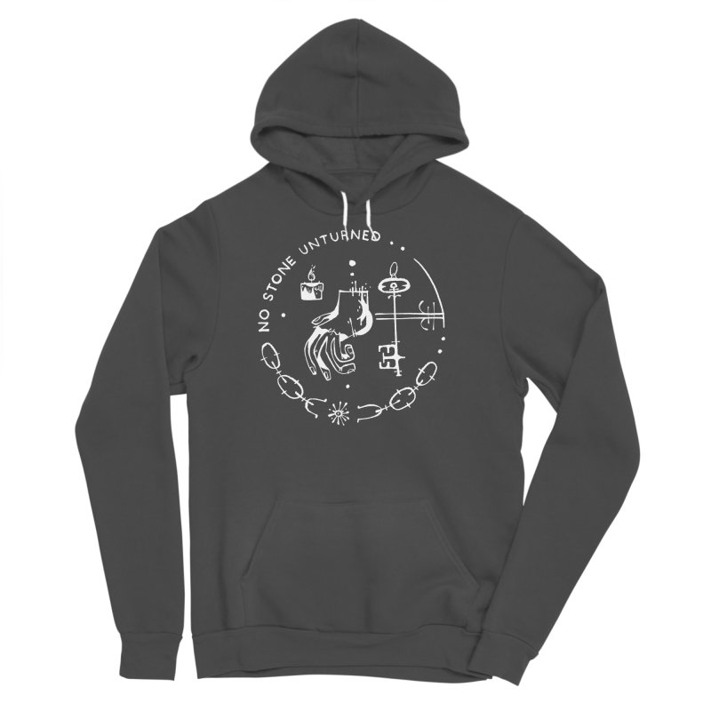NO STONE UNTURNED (wht) Wishbow x Voidmerch Men's Sponge Fleece Pullover Hoody by VOID MERCH