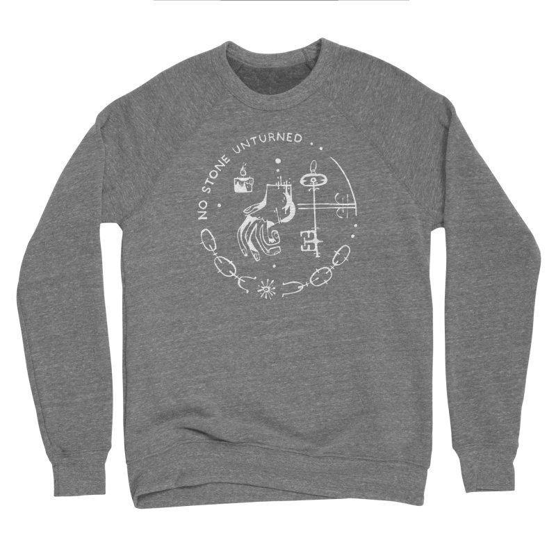 NO STONE UNTURNED (wht) Wishbow x Voidmerch Men's Sponge Fleece Sweatshirt by VOID MERCH