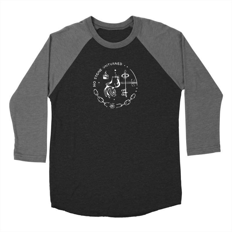 NO STONE UNTURNED (wht) Wishbow x Voidmerch in Women's Baseball Triblend Longsleeve T-Shirt Grey Triblend Sleeves by VOID MERCH