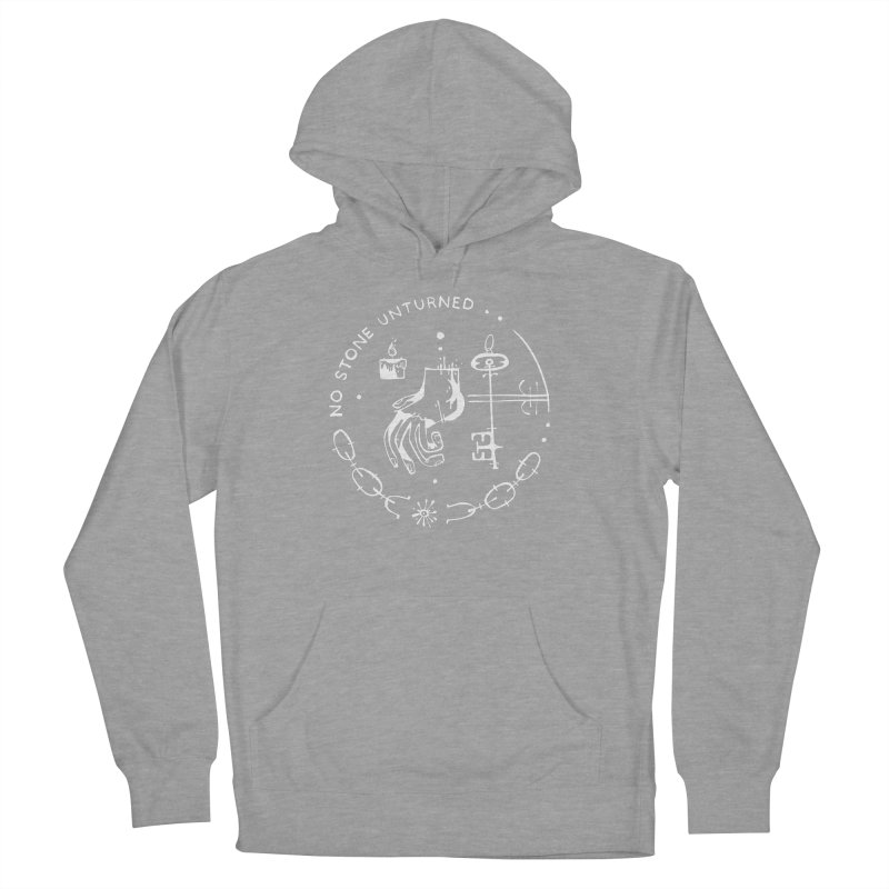 NO STONE UNTURNED (wht) Wishbow x Voidmerch Men's French Terry Pullover Hoody by VOID MERCH
