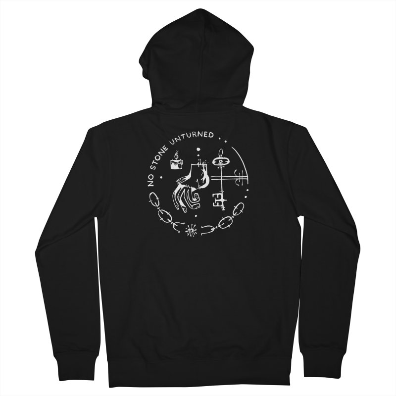 NO STONE UNTURNED (wht) Wishbow x Voidmerch Women's French Terry Zip-Up Hoody by VOID MERCH