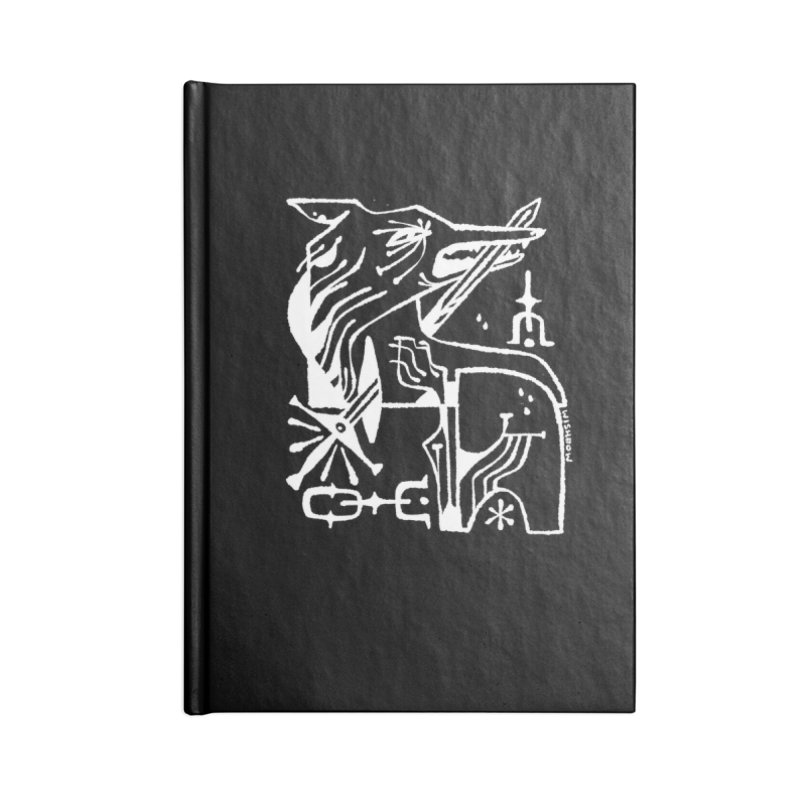 SWORD WOLF (wht) Wishbow x Voidmerch Accessories Lined Journal Notebook by VOID MERCH