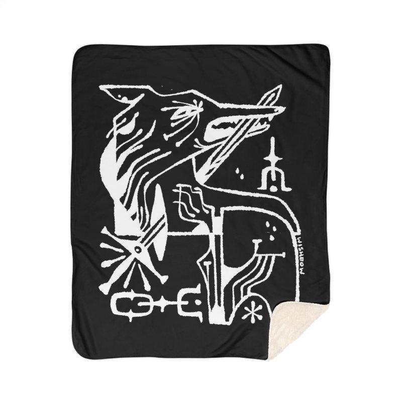 SWORD WOLF (wht) Wishbow x Voidmerch Home Sherpa Blanket Blanket by VOID MERCH