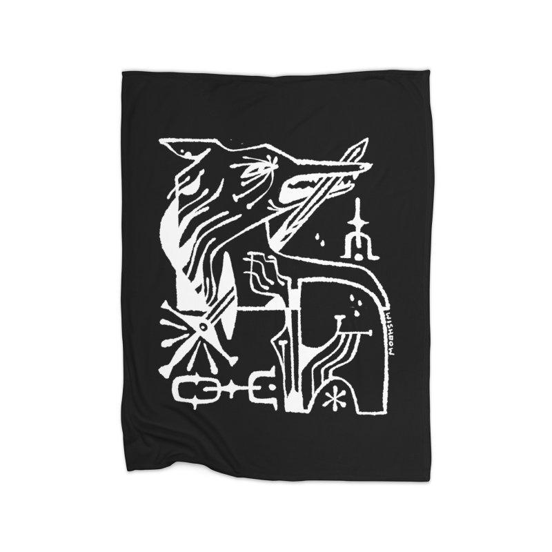 SWORD WOLF (wht) Wishbow x Voidmerch Home Fleece Blanket Blanket by VOID MERCH