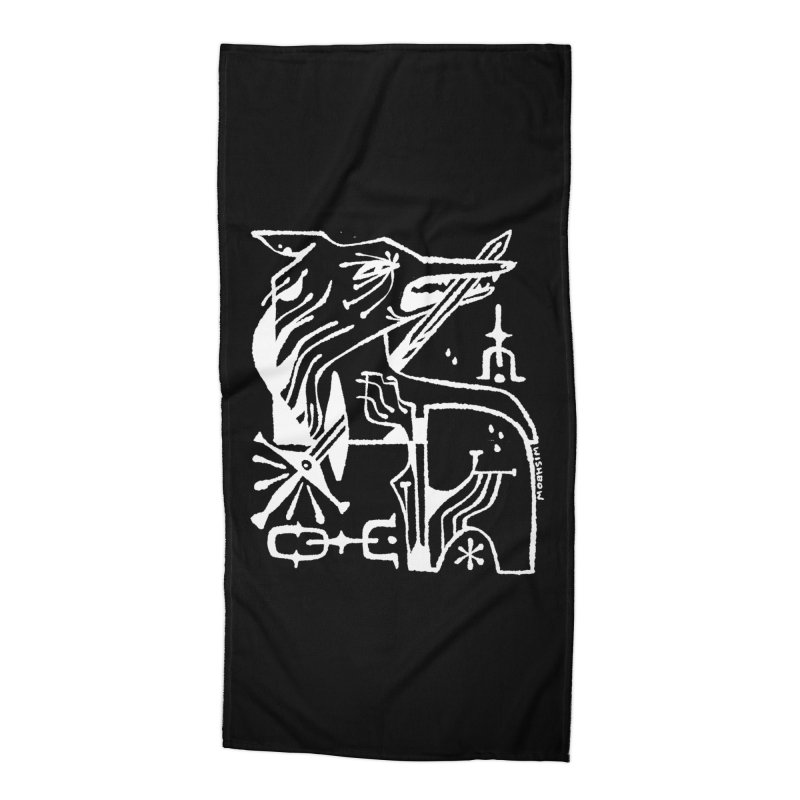 SWORD WOLF (wht) Wishbow x Voidmerch Accessories Beach Towel by VOID MERCH