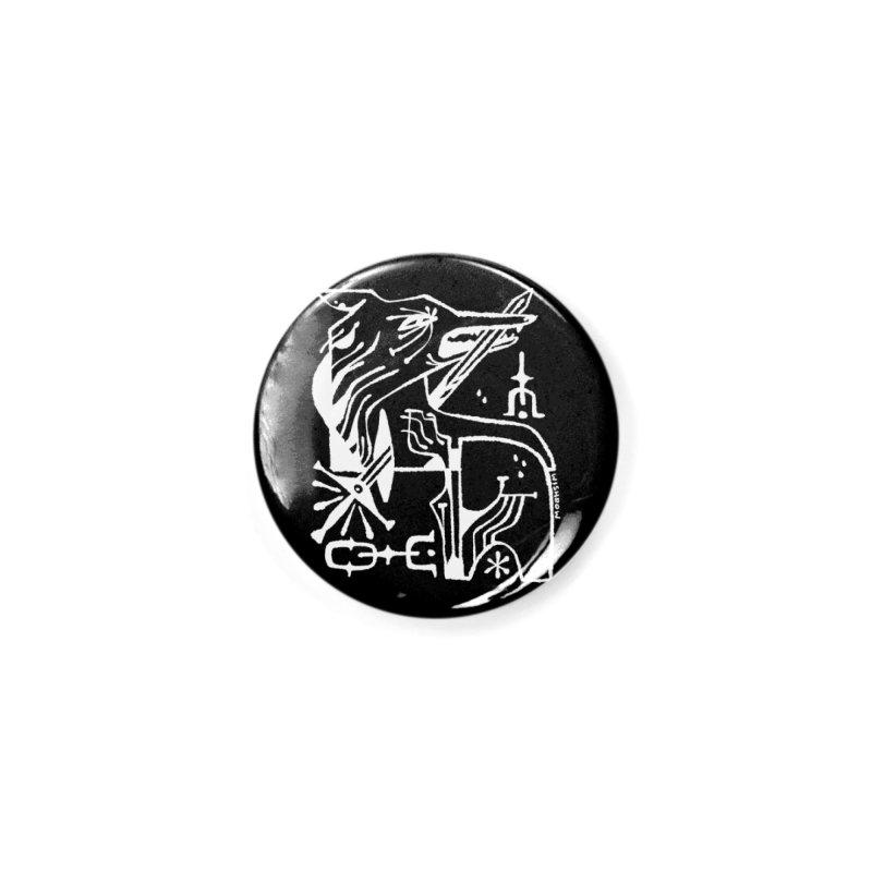 SWORD WOLF (wht) Wishbow x Voidmerch Accessories Button by VOID MERCH