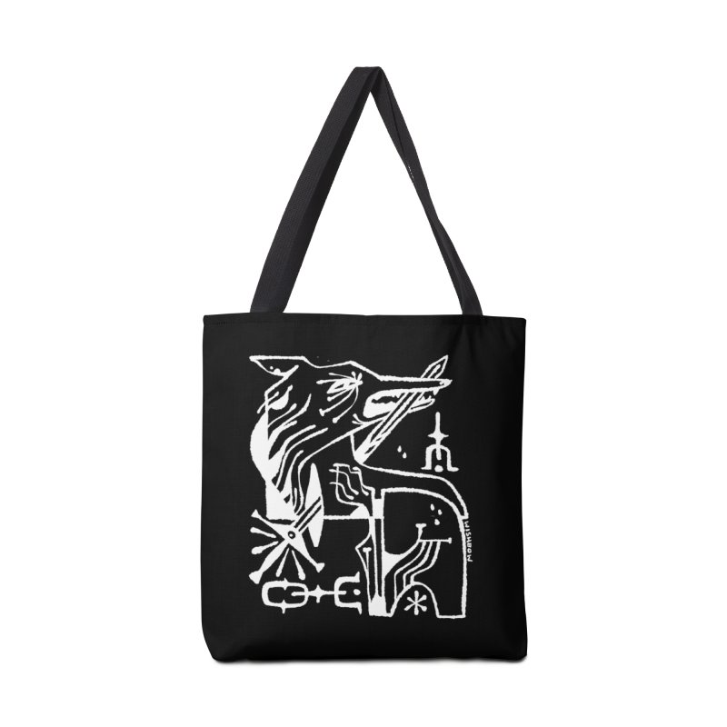 SWORD WOLF (wht) Wishbow x Voidmerch Accessories Tote Bag Bag by VOID MERCH