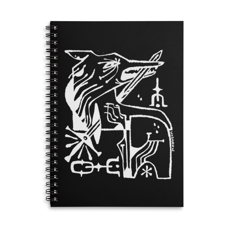 SWORD WOLF (wht) Wishbow x Voidmerch Accessories Lined Spiral Notebook by VOID MERCH