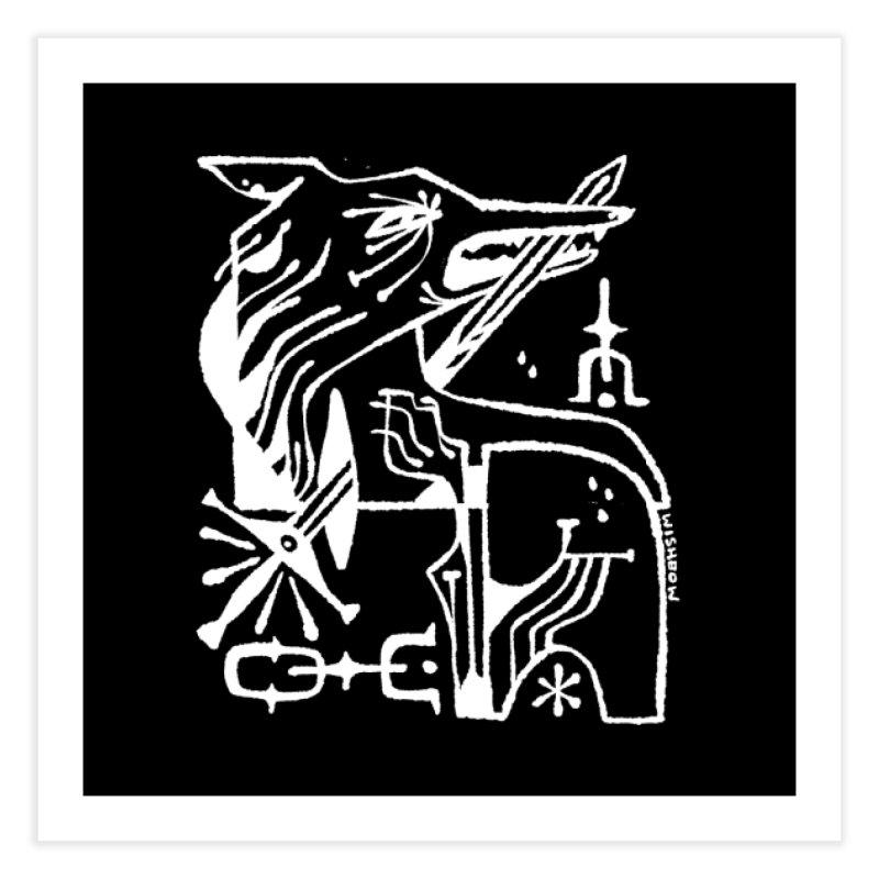 SWORD WOLF (wht) Wishbow x Voidmerch Home Fine Art Print by VOID MERCH