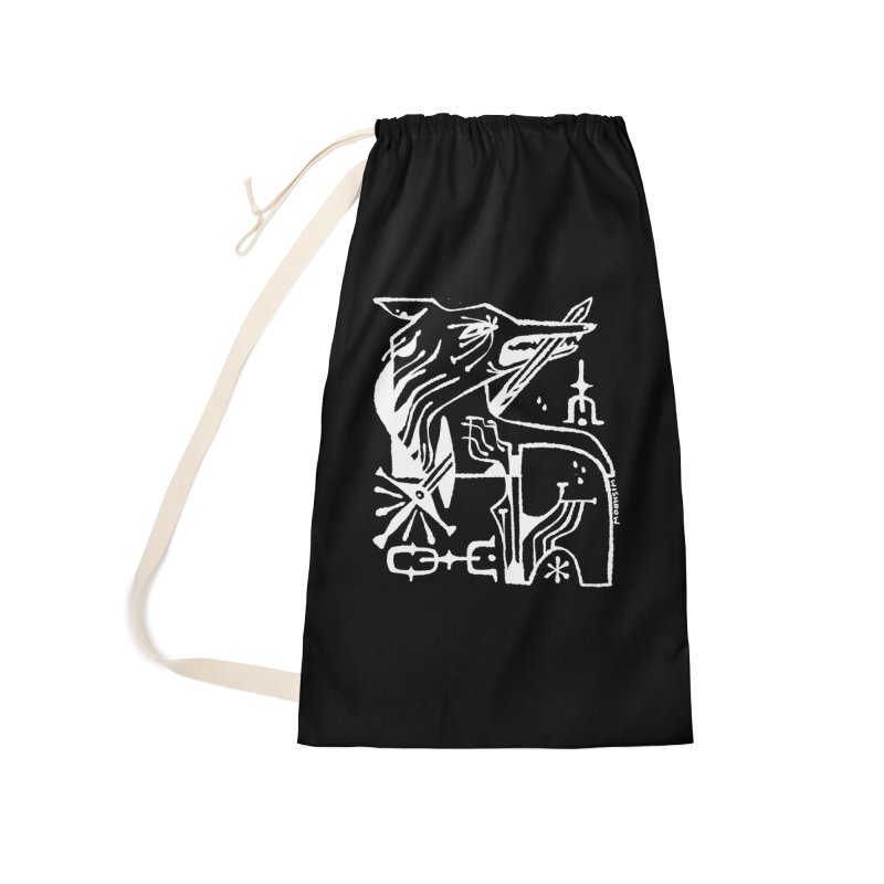 SWORD WOLF (wht) Wishbow x Voidmerch Accessories Laundry Bag Bag by VOID MERCH