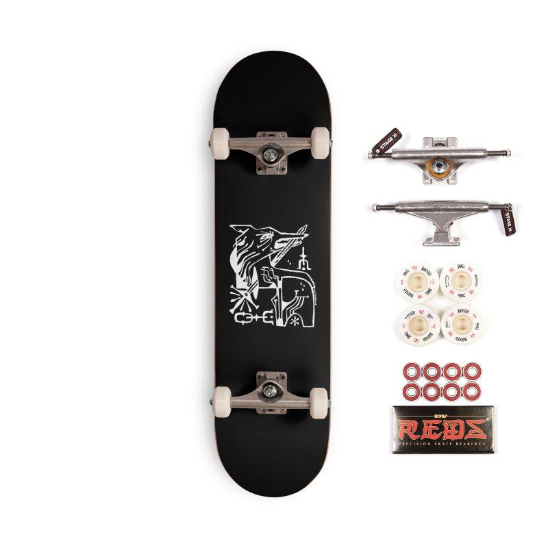 SWORD WOLF (wht) Wishbow x Voidmerch Accessories Complete - Pro Skateboard by VOID MERCH