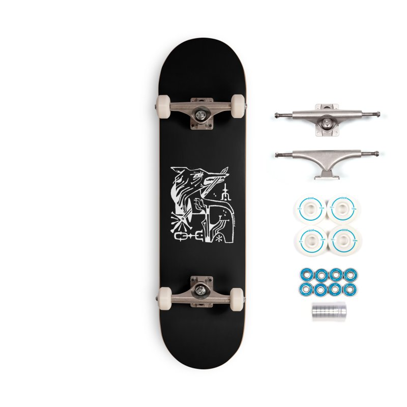 SWORD WOLF (wht) Wishbow x Voidmerch Accessories Complete - Basic Skateboard by VOID MERCH