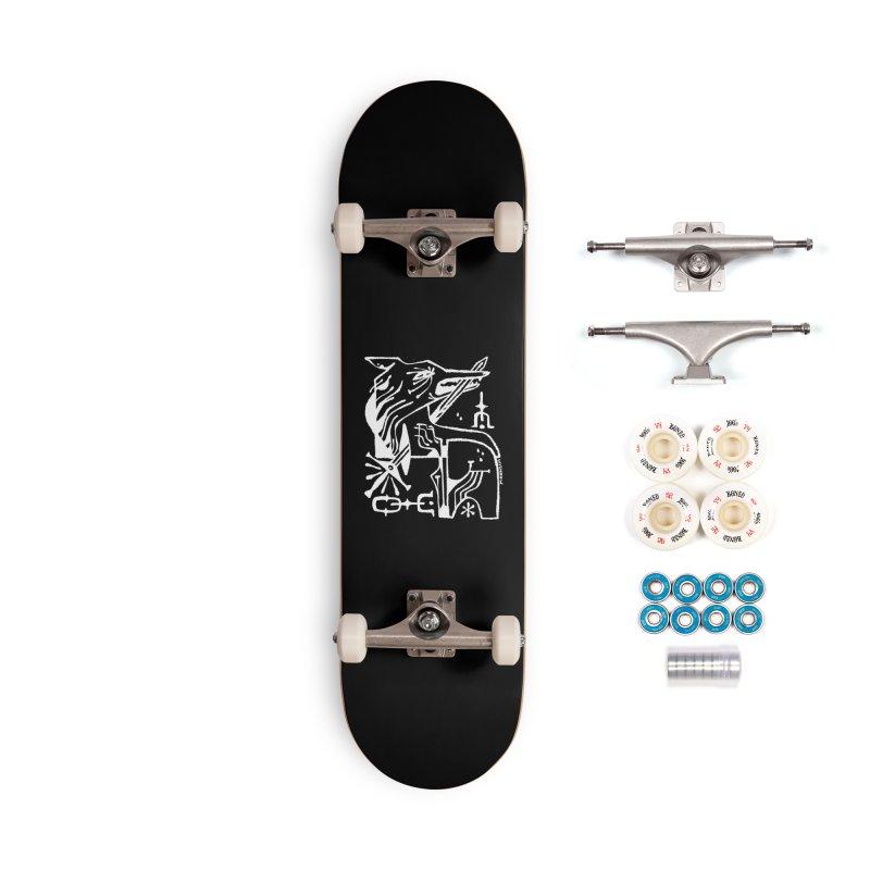 SWORD WOLF (wht) Wishbow x Voidmerch Accessories Complete - Premium Skateboard by VOID MERCH