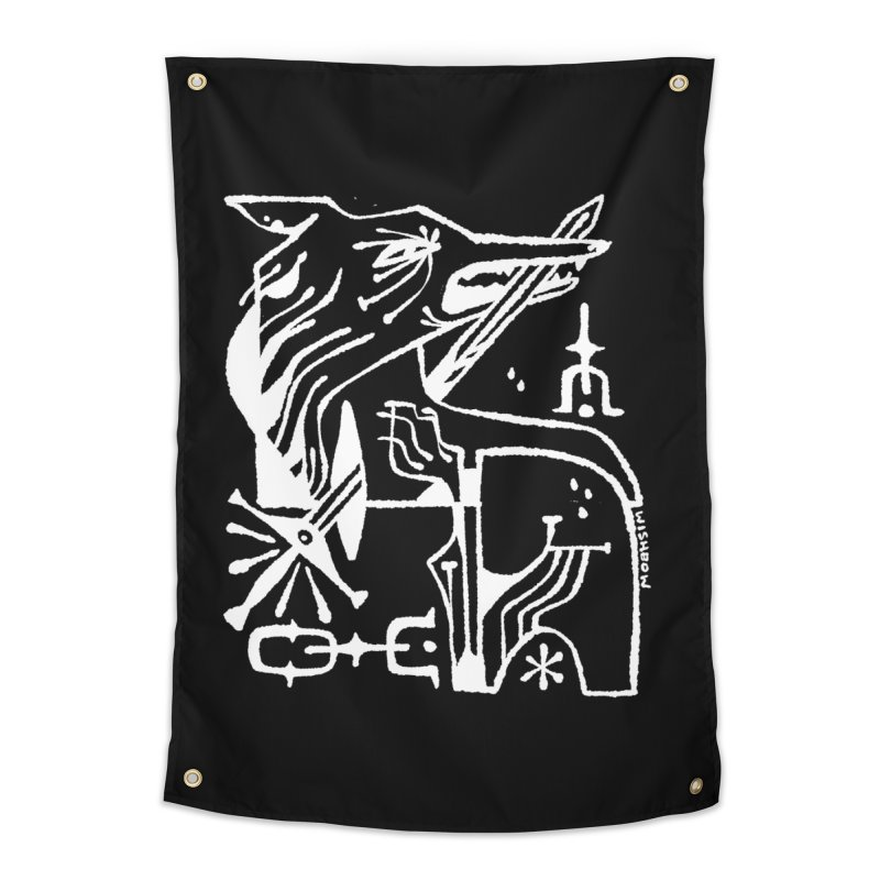 SWORD WOLF (wht) Wishbow x Voidmerch Home Tapestry by VOID MERCH