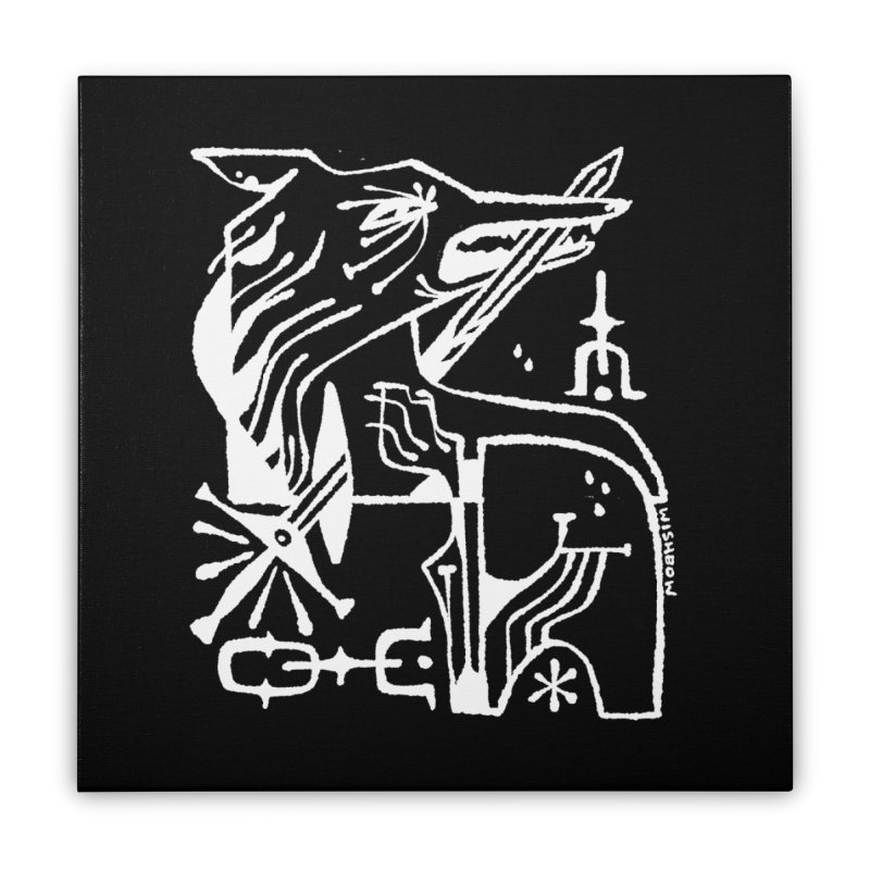 SWORD WOLF (wht) Wishbow x Voidmerch Home Stretched Canvas by VOID MERCH