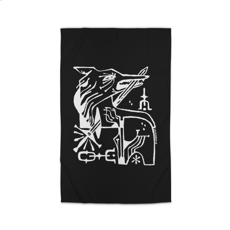 SWORD WOLF (wht) Wishbow x Voidmerch Home Rug by VOID MERCH