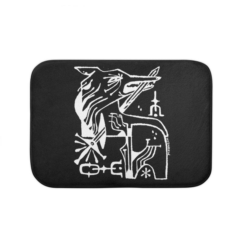 SWORD WOLF (wht) Wishbow x Voidmerch Home Bath Mat by VOID MERCH