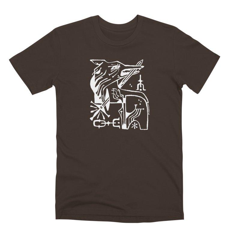 SWORD WOLF (wht) Wishbow x Voidmerch in Men's Premium T-Shirt Chocolate by VOID MERCH