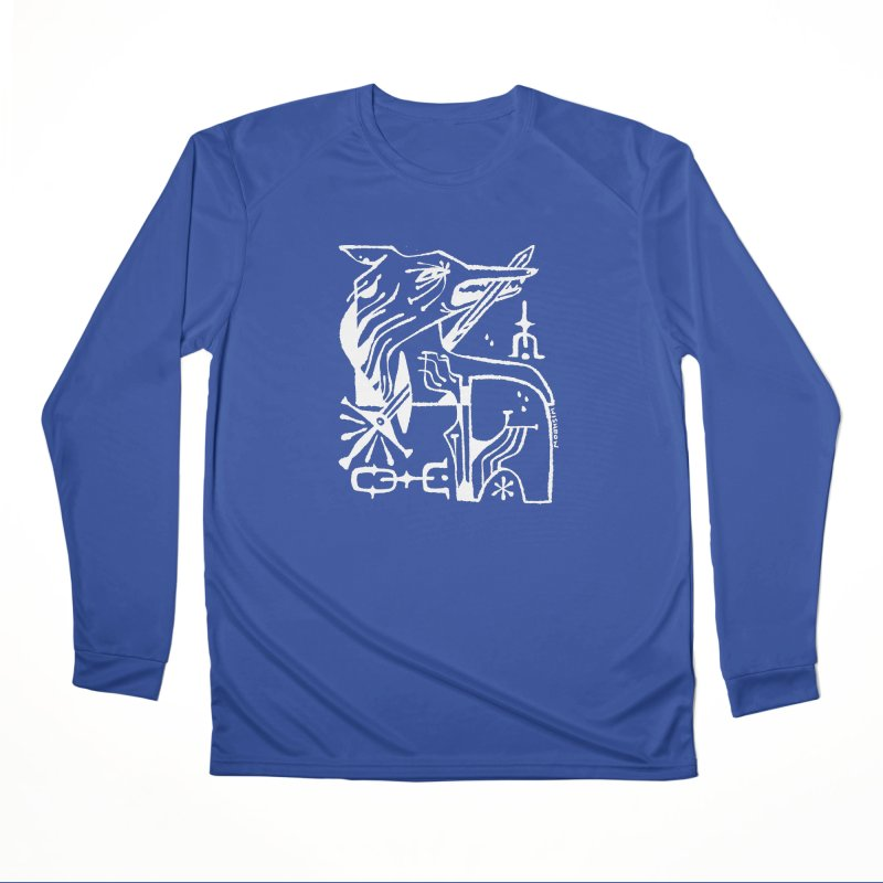 SWORD WOLF (wht) Wishbow x Voidmerch Men's Performance Longsleeve T-Shirt by VOID MERCH