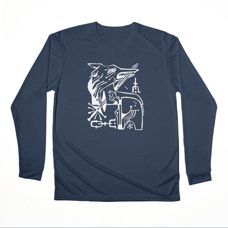 SWORD WOLF (wht) Wishbow x Voidmerch Women's Performance Unisex Longsleeve T-Shirt by VOID MERCH