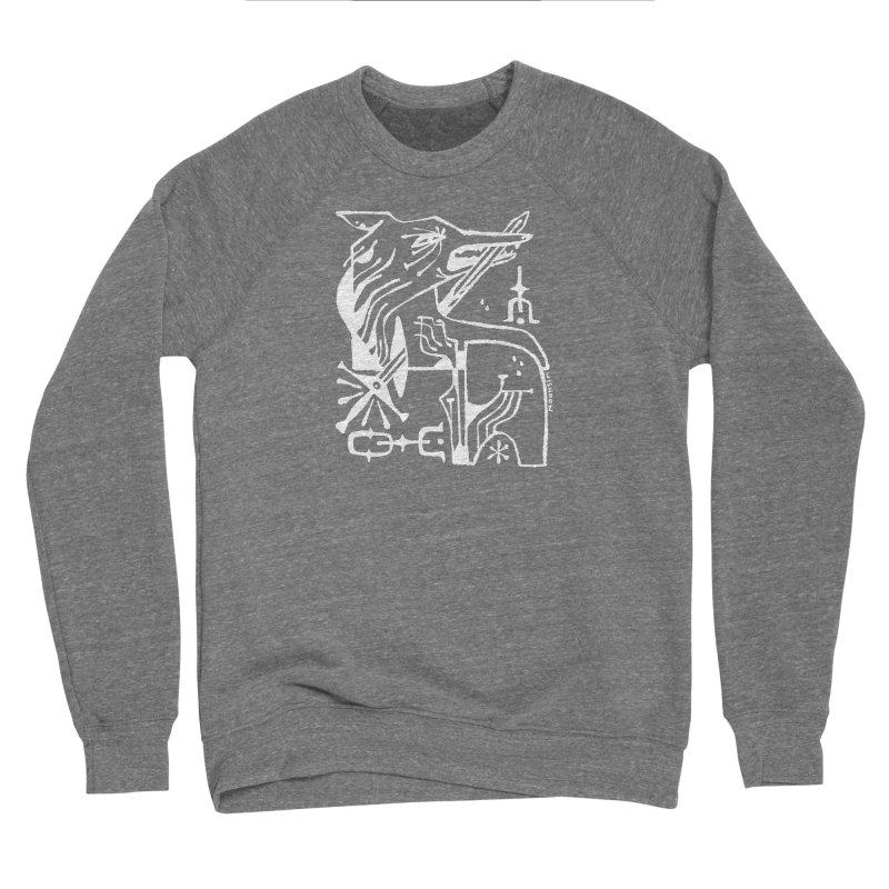 SWORD WOLF (wht) Wishbow x Voidmerch Men's Sponge Fleece Sweatshirt by VOID MERCH