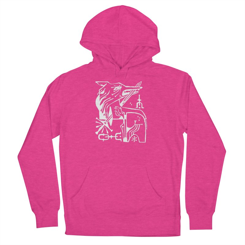 SWORD WOLF (wht) Wishbow x Voidmerch Men's French Terry Pullover Hoody by VOID MERCH