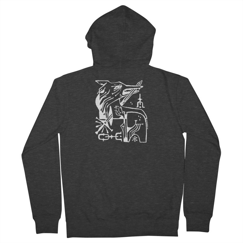SWORD WOLF (wht) Wishbow x Voidmerch Men's French Terry Zip-Up Hoody by VOID MERCH