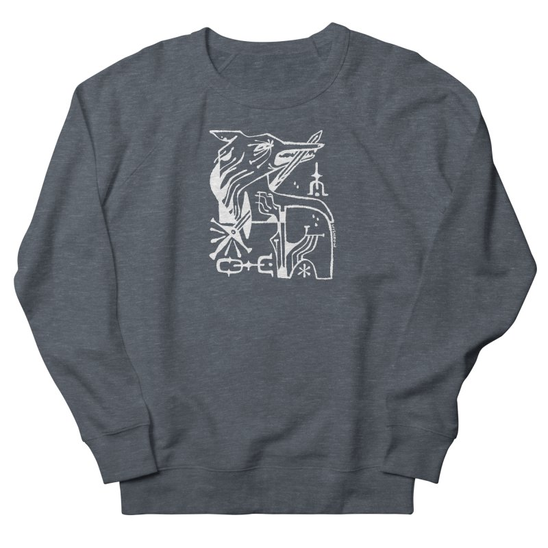 SWORD WOLF (wht) Wishbow x Voidmerch Women's French Terry Sweatshirt by VOID MERCH