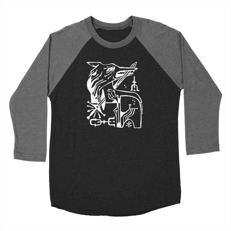 SWORD WOLF (wht) Wishbow x Voidmerch Men's Baseball Triblend Longsleeve T-Shirt by VOID MERCH