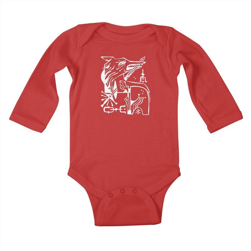 SWORD WOLF (wht) Wishbow x Voidmerch Kids Baby Longsleeve Bodysuit by VOID MERCH