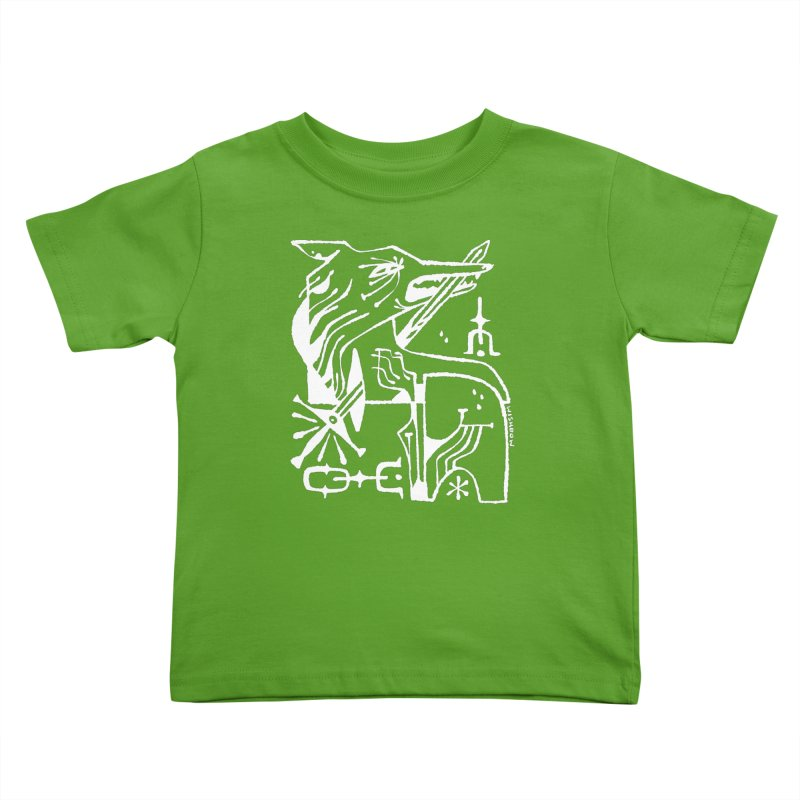 SWORD WOLF (wht) Wishbow x Voidmerch Kids Toddler T-Shirt by VOID MERCH