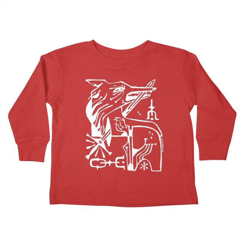 SWORD WOLF (wht) Wishbow x Voidmerch Kids Toddler Longsleeve T-Shirt by VOID MERCH