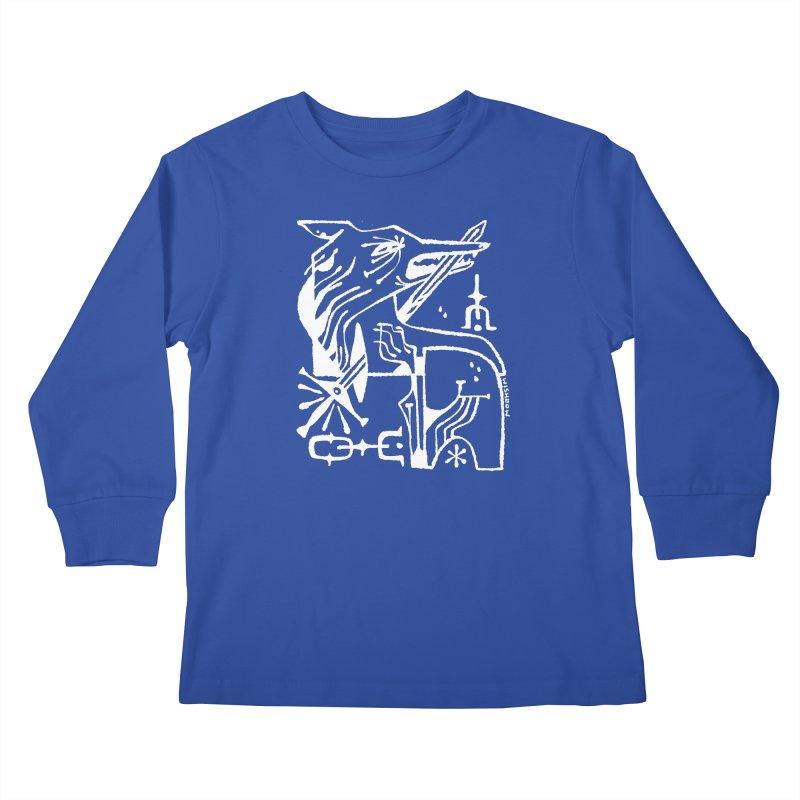 SWORD WOLF (wht) Wishbow x Voidmerch Kids Longsleeve T-Shirt by VOID MERCH