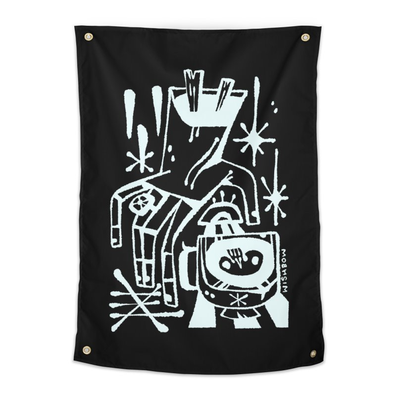 MORNING BREW (wht) Wishbow x Voidmerch Home Tapestry by VOID MERCH