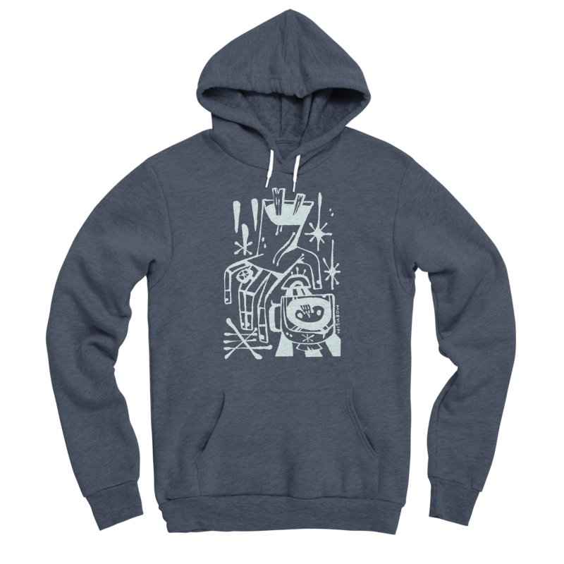 MORNING BREW (wht) Wishbow x Voidmerch Men's Sponge Fleece Pullover Hoody by VOID MERCH