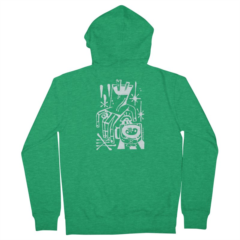 MORNING BREW (wht) Wishbow x Voidmerch Men's French Terry Zip-Up Hoody by VOID MERCH