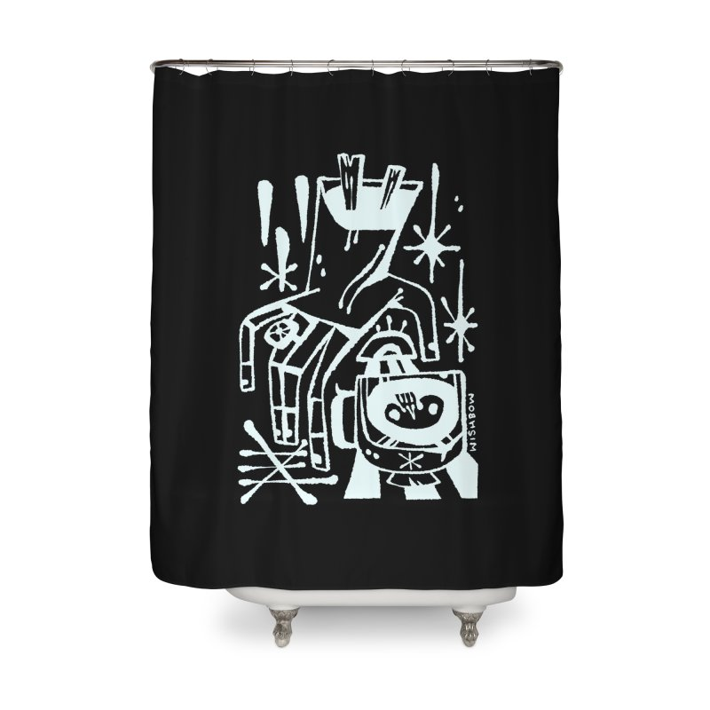 MORNING BREW (wht) Wishbow x Voidmerch Home Shower Curtain by VOID MERCH