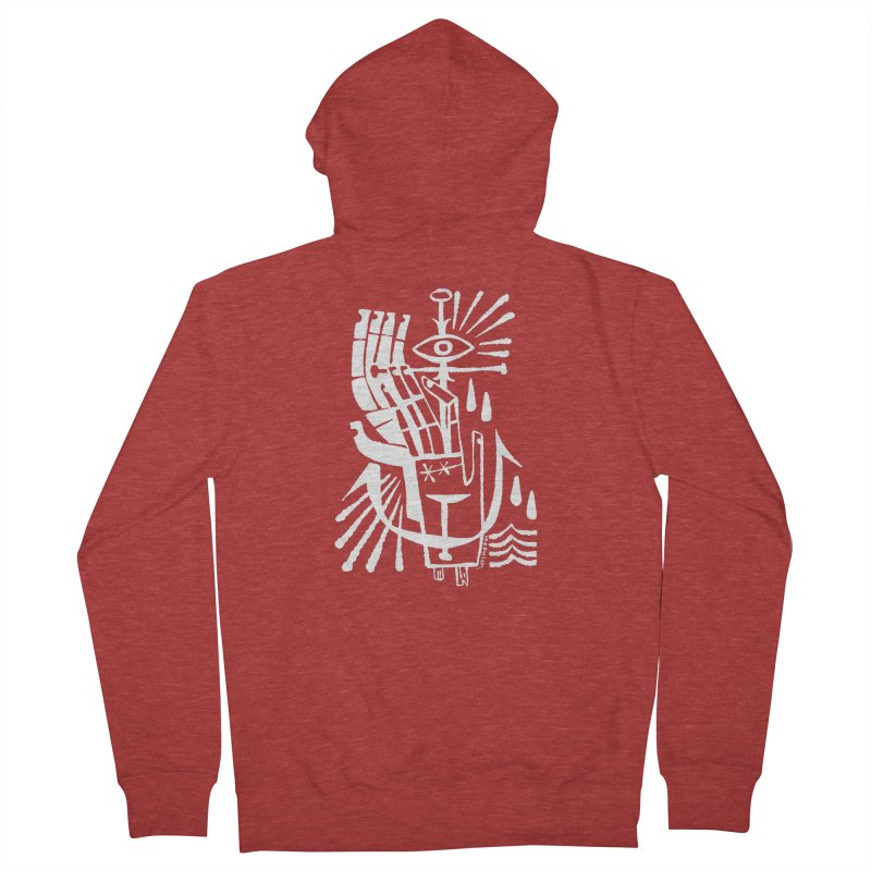 ANCHOR (wht) Wishbow x Voidmerch Men's French Terry Zip-Up Hoody by VOID MERCH