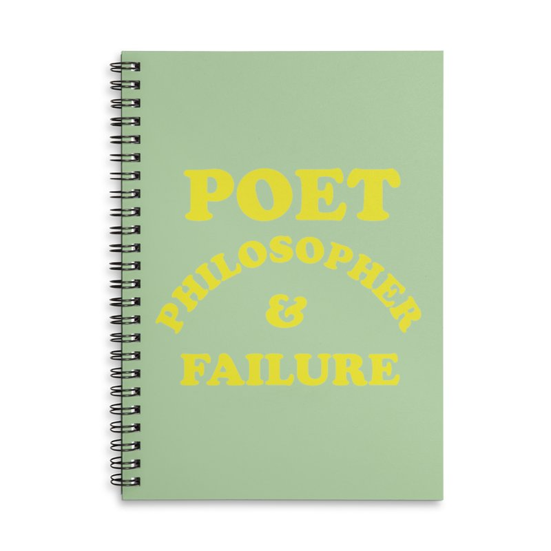 POET PHILOSOPHER & FAILURE (yllw) Accessories Lined Spiral Notebook by VOID MERCH